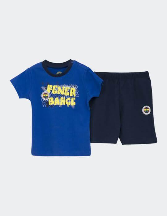 Bebek Mavi Fenerbahçe Logo Şort Takım