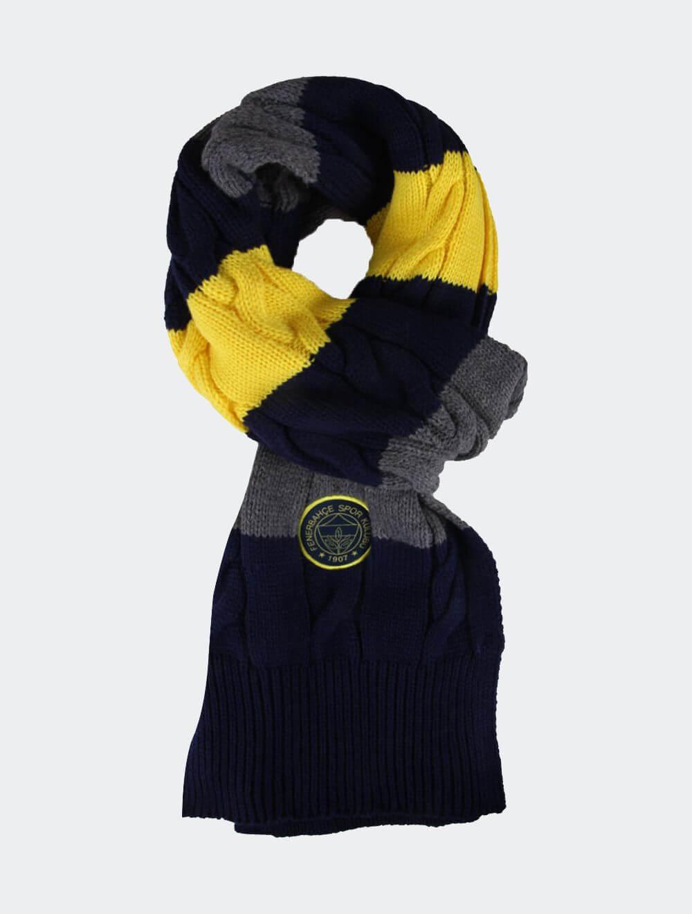Sarı Lacivert Gri Renkli Saç Örgü Atkı