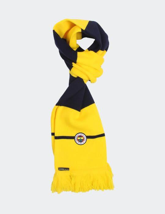 Sarı Lacivert Çizgili Tek Renk Logo Atkı