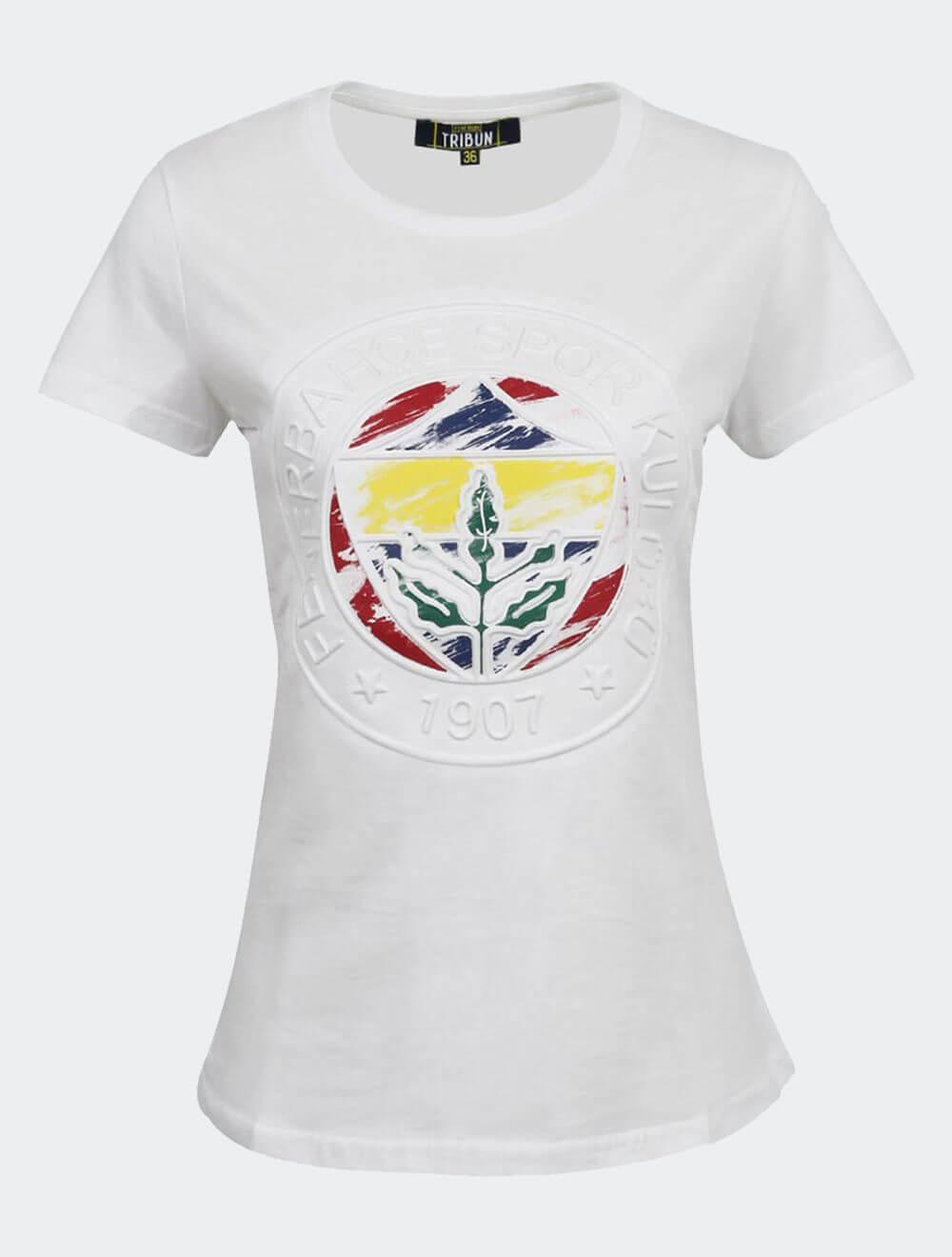 Kadın Beyaz Tribün Kısa Kollu Emboss T-Shirt
