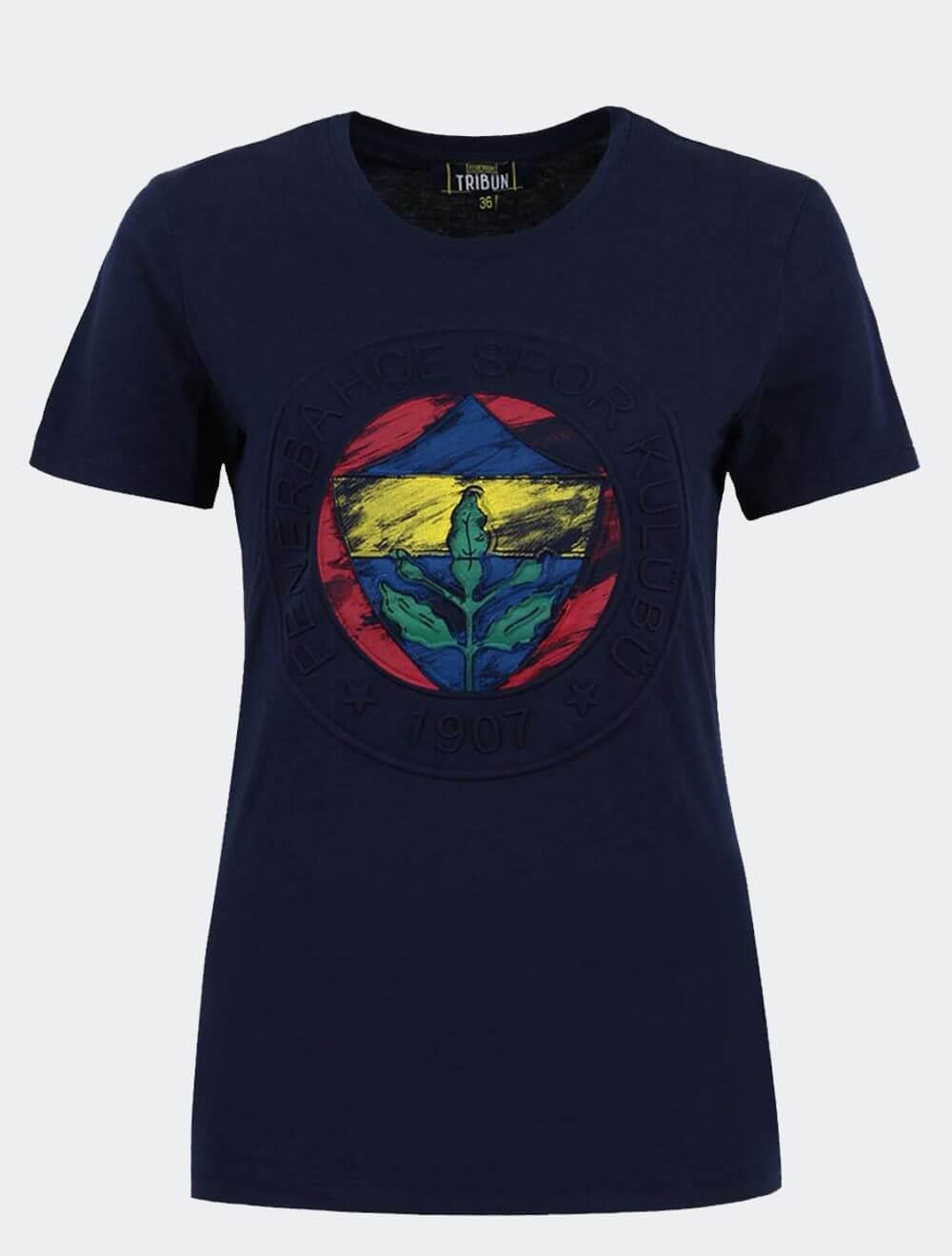 Kadın Lacivert Tribün Kısa Kollu Emboss T-Shirt