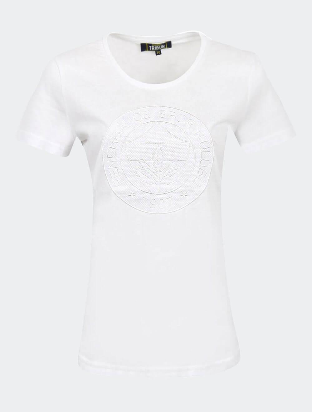Kadın Beyaz Tribün File Logo T-Shirt
