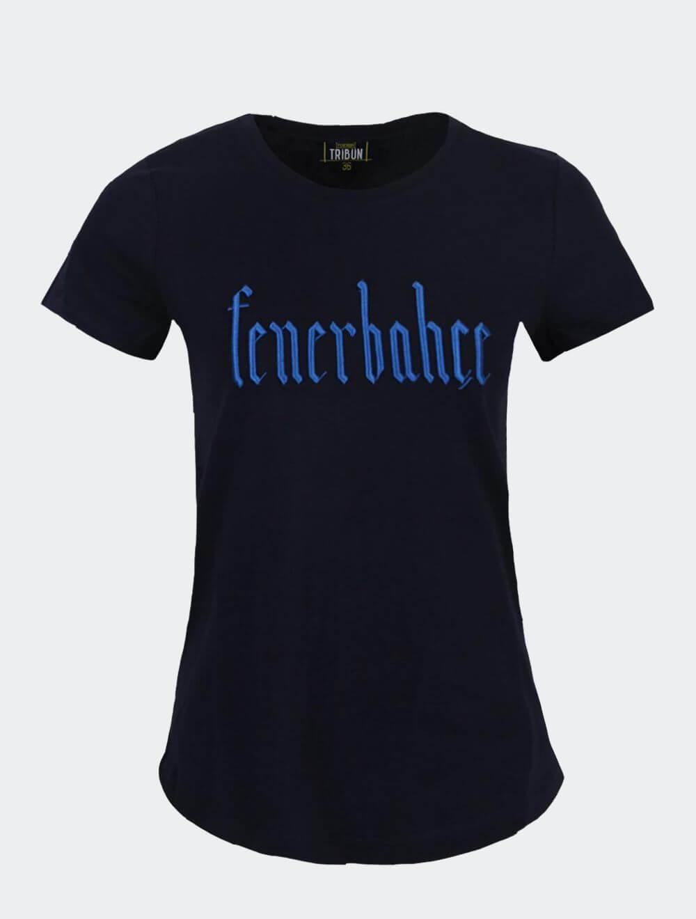 Kadın Lacivert Tribün Simli Nakış T-Shirt