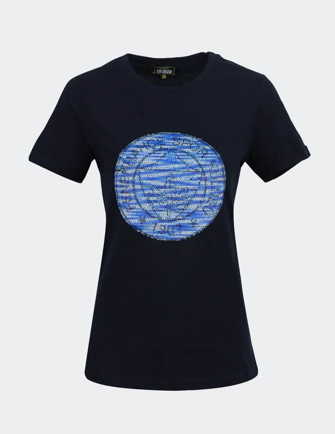 Kadın Lacivert Tribün Pullu Logo T-Shirt