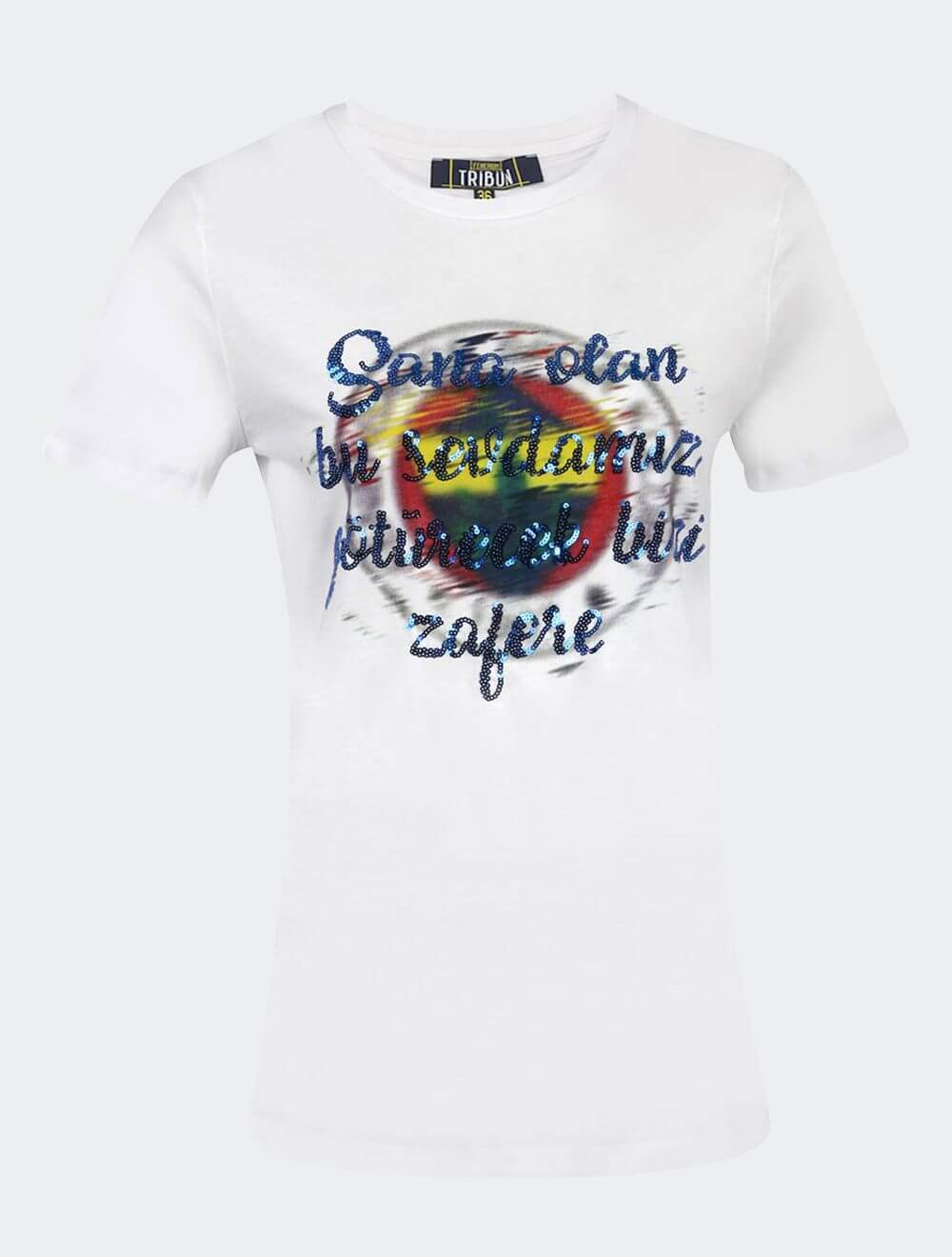 Kadın Beyaz Tribün Pullu Slogan T-Shirt