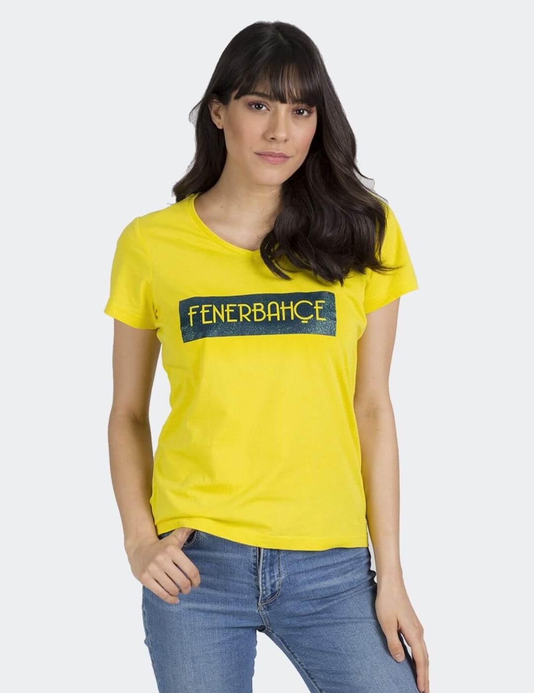 Kadın Sarı Tribün Gliter T-Shirt