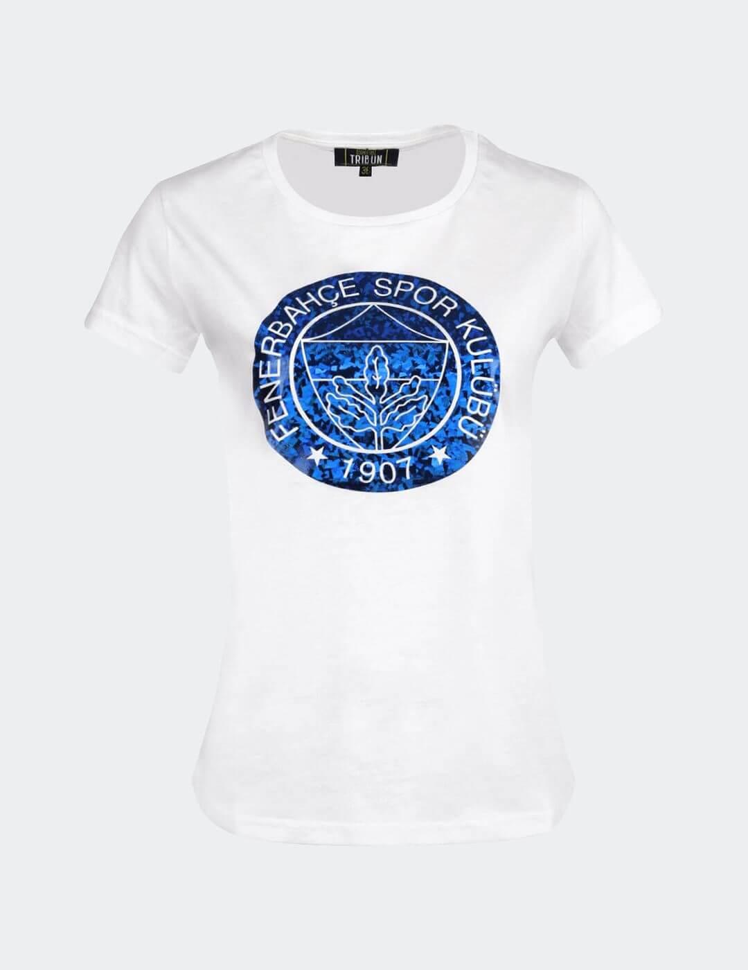 Kadın Beyaz Tribün Yaldız T-Shirt