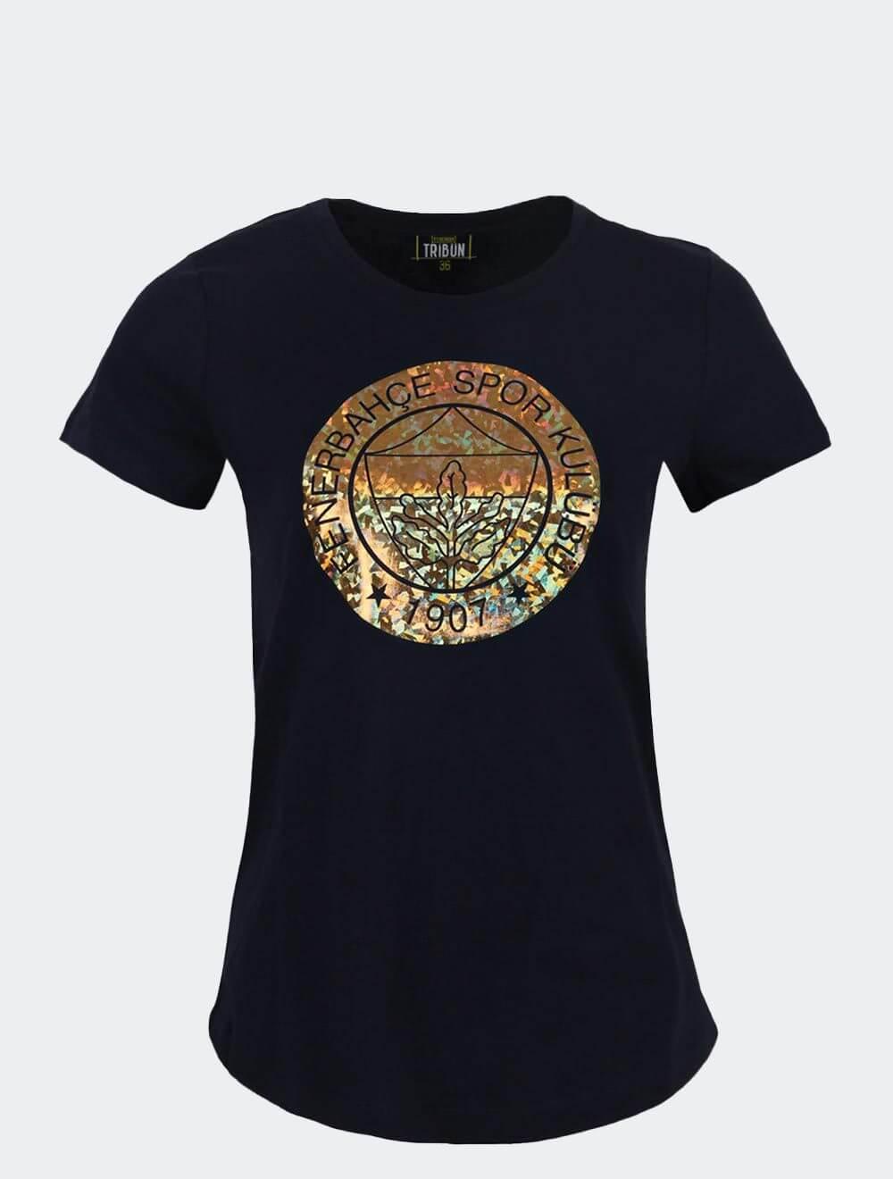 Kadın Lacivert Tribün Yaldız T-Shirt