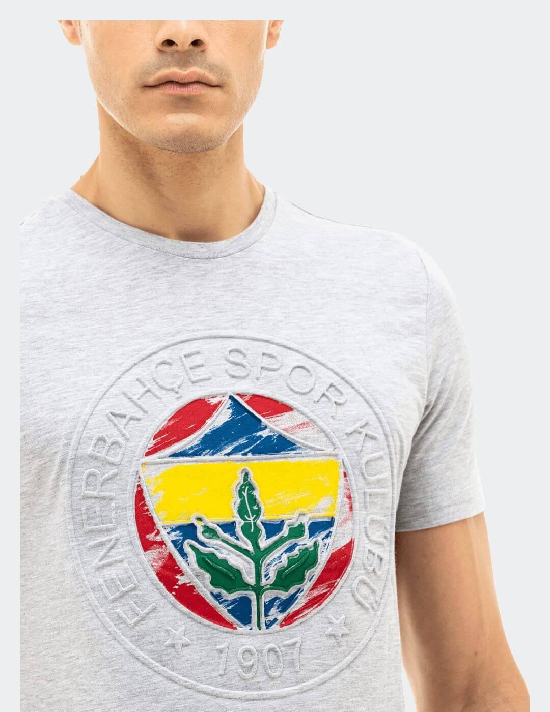 Erkek Gri Emboss Tişört
