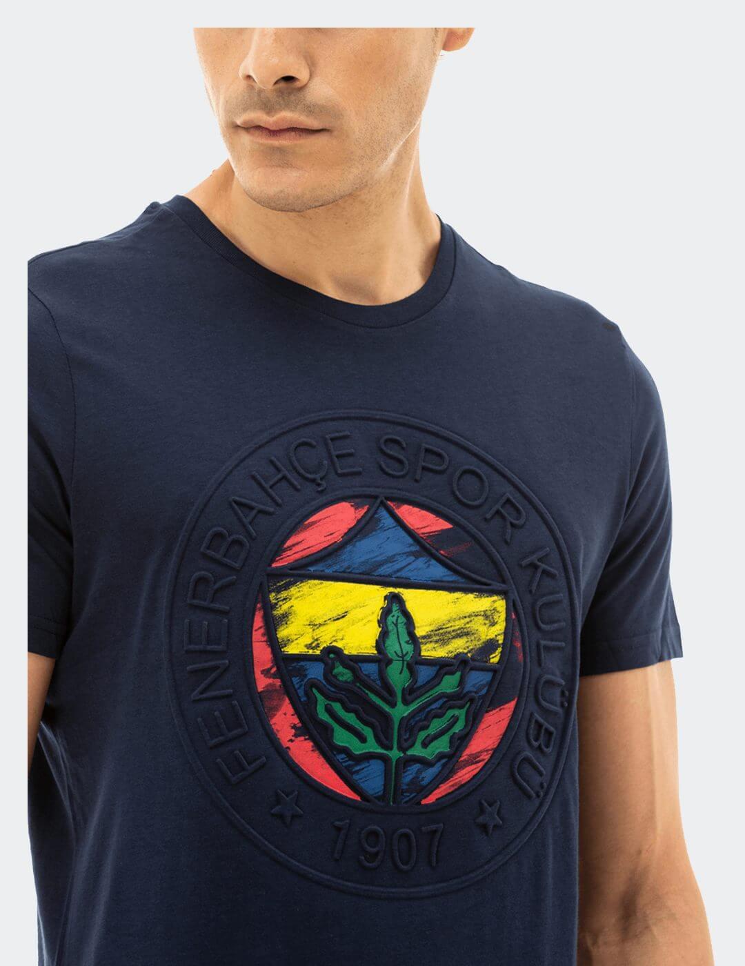 Erkek Lacivert Emboss Tişört