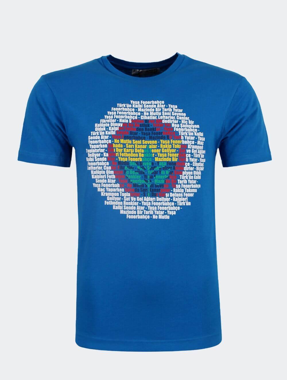 Erkek Mavi Tribün Marş Logo T-Shirt