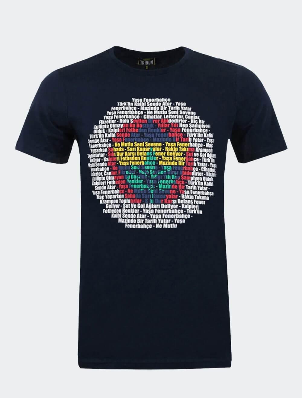 Erkek Lacivert Tribün Marş Logo Tişört