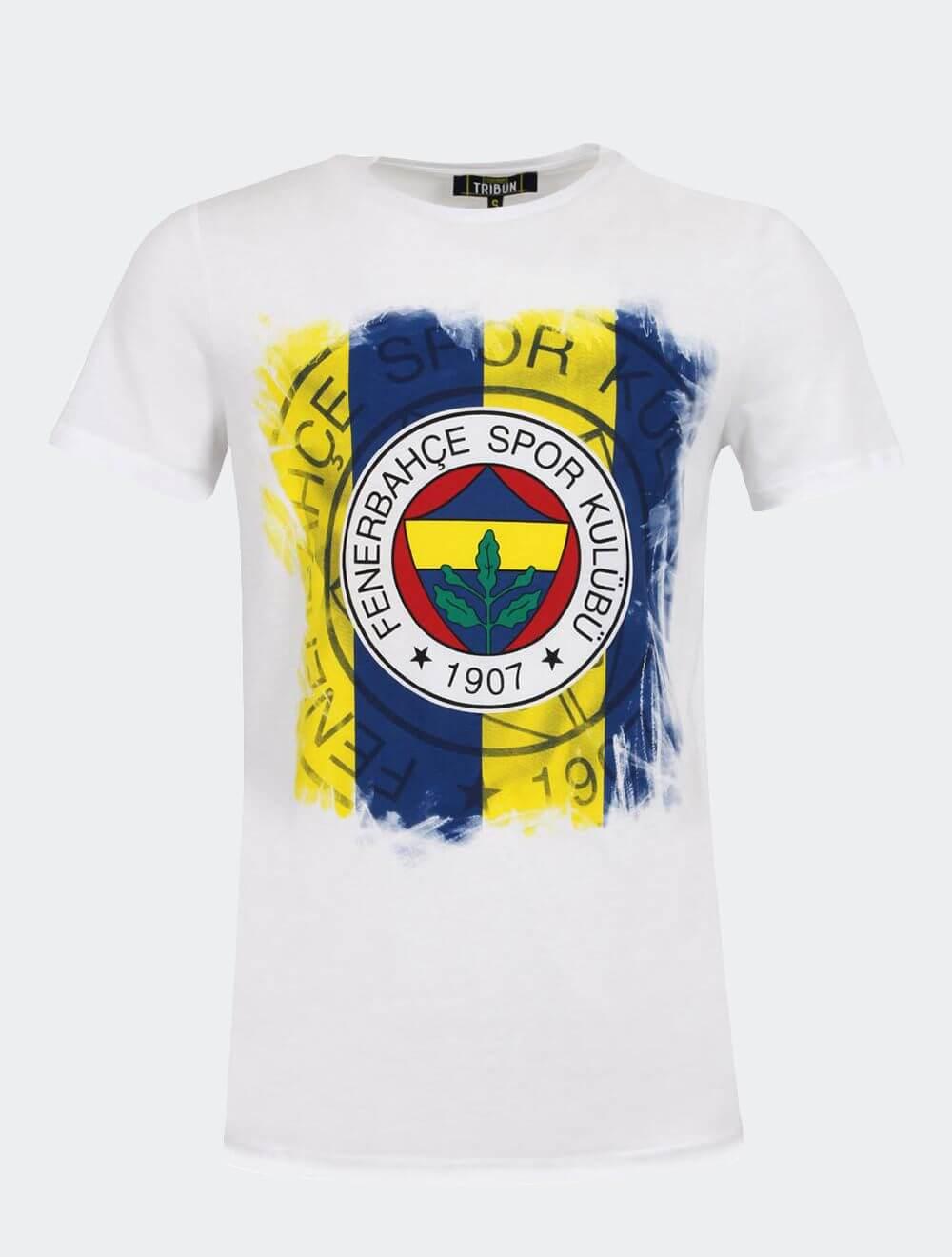 Erkek Beyaz Tribün Tramlı Logo T-Shirt