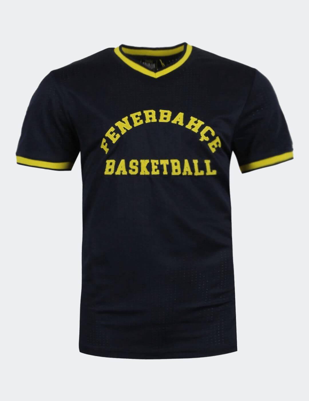 Erkek Lacivert Basket File T-shirt