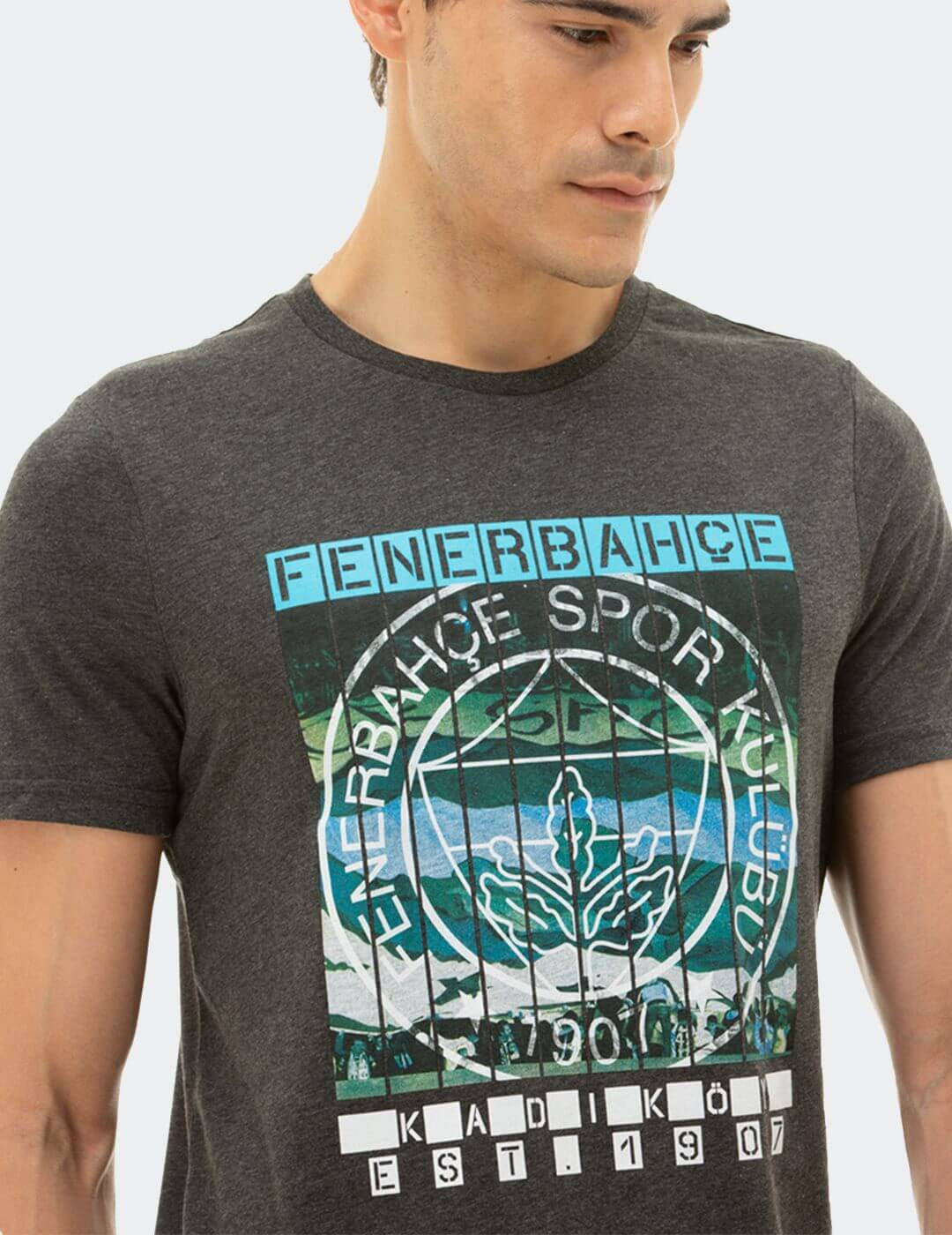 Erkek Gri Tribün Pankart T-Shirt