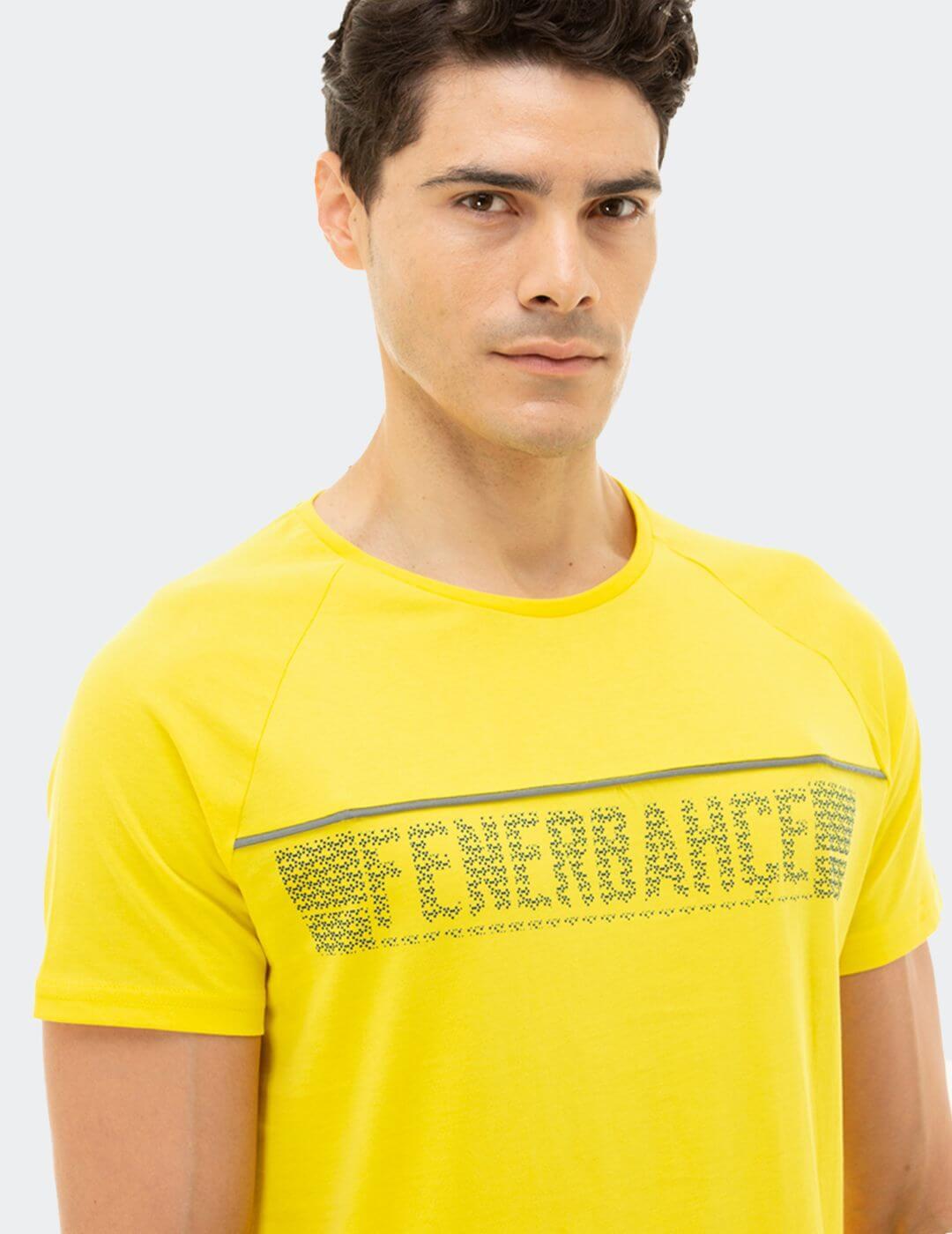 Erkek Sarı Tribün Kabaran Baskılı T-Shirt
