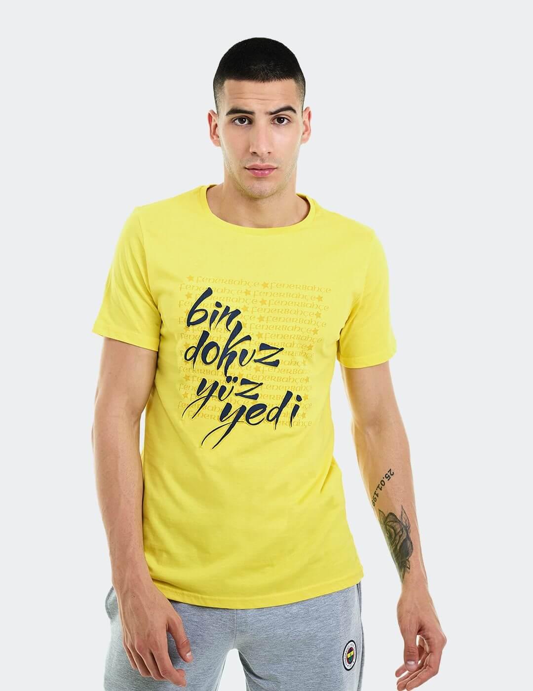 Erkek Sarı Tribün Bin Dokuz Yüz Yedi T-Shirt