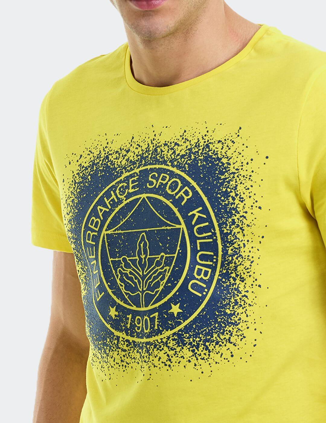 Erkek Sarı Tribün Püskürtme Logo T-Shirt