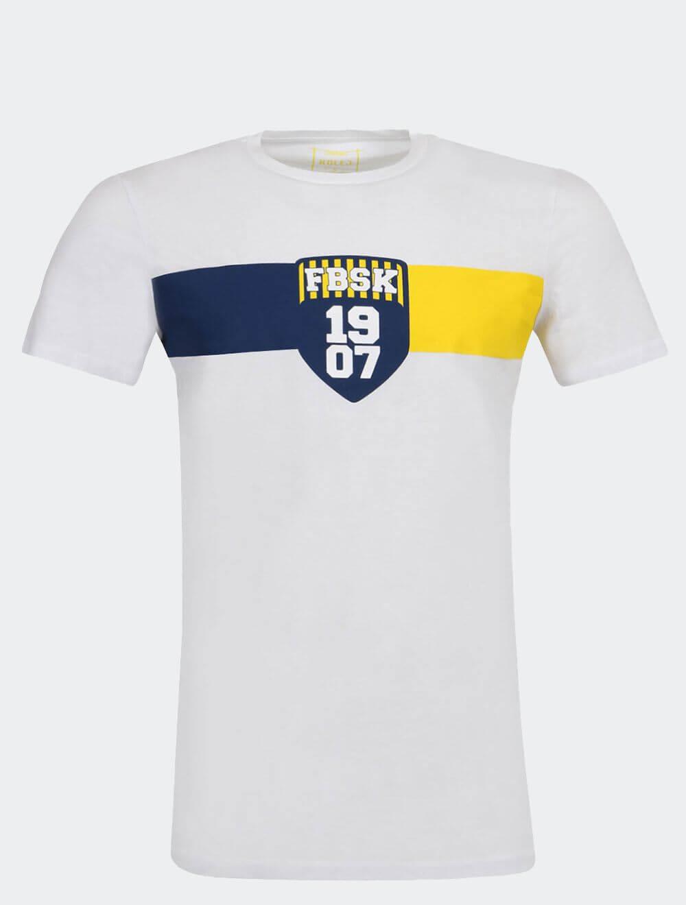 Erkek Beyaz Kolej FBSK 1907 T-Shirt