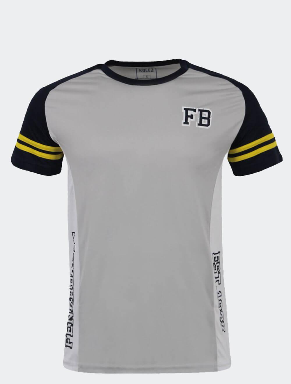 Erkek Gri Kolej YanI Baskılı T-Shirt