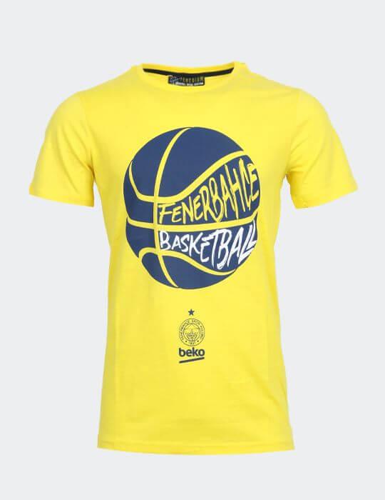 Erkek Sarı Fenerbahçe 20/21 Basketbol Top T-shirt