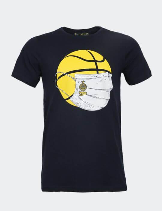 Erkek Lacivert Basket 20/21 Maske T-shirt