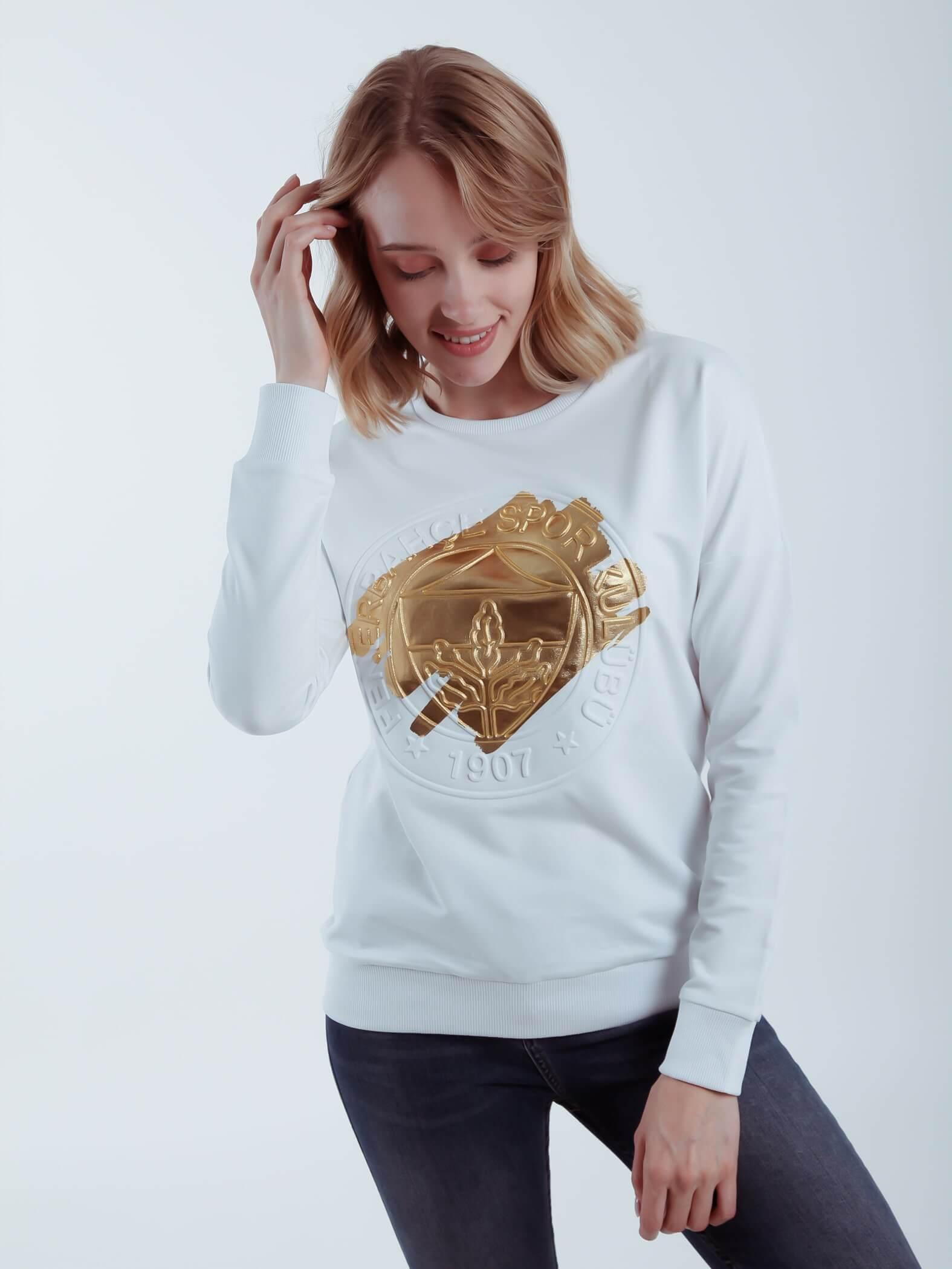 Kadın Beyaz Tribün Yaldızlı Emboss Sweatshirt