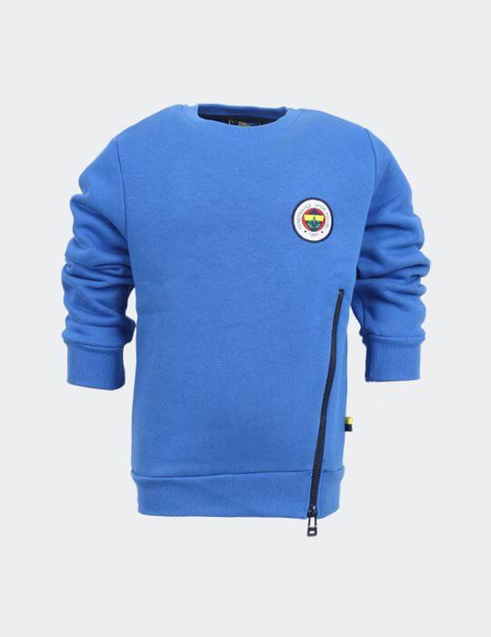 Çocuk Mavi Tribün Fermuar Detaylı Sweatshirt