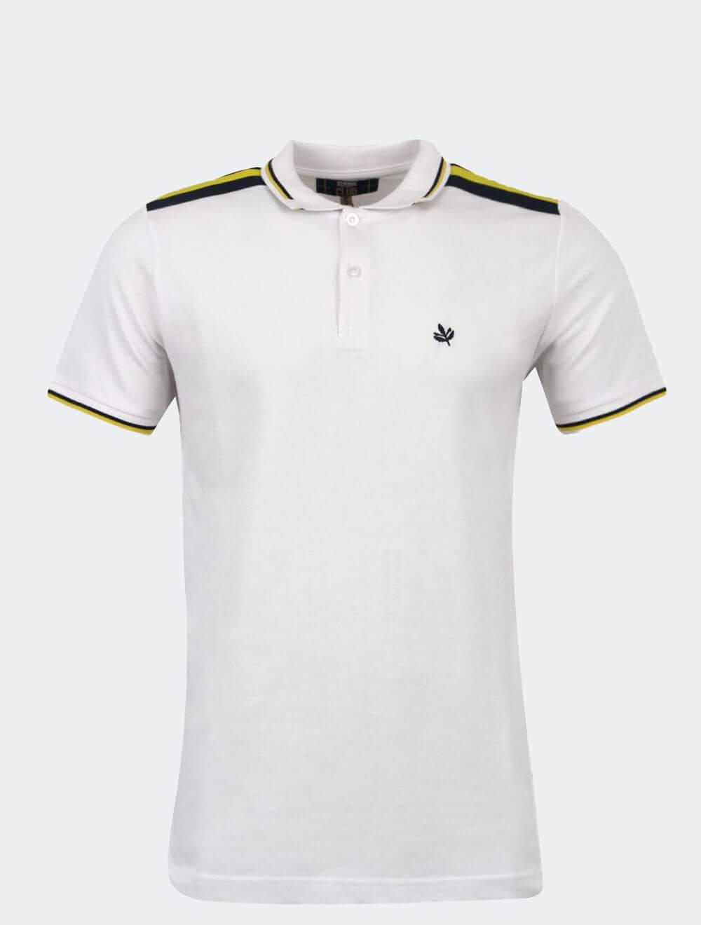 Erkek Beyaz Club Omzu Şeritli Polo