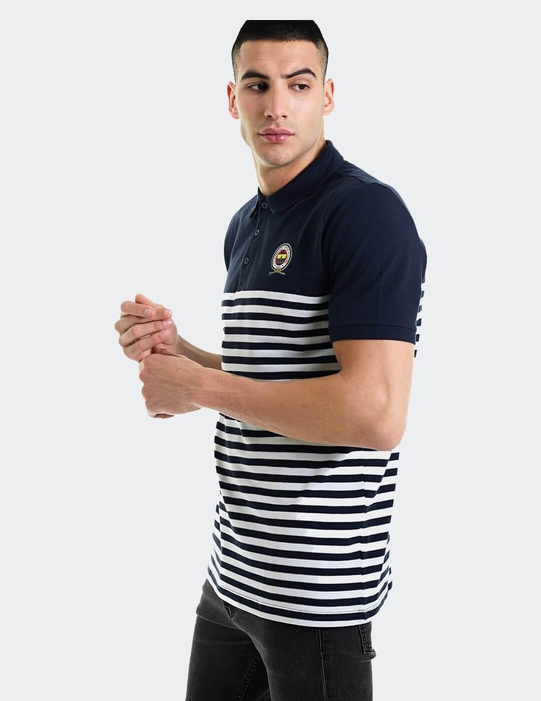 Erkek Lacivert Marine Ringel Polo