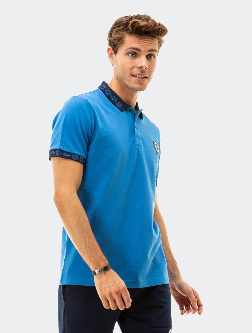Erkek Mavi Marine Yaka Baskılı Polo