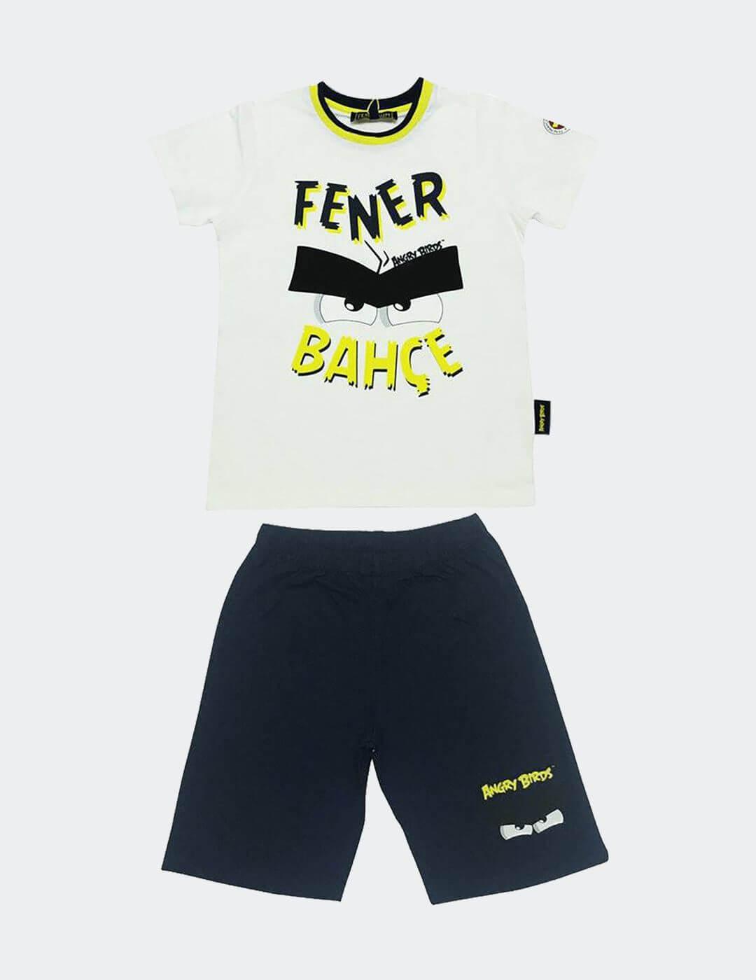 Çocuk Beyaz Fenerbahçe Angry Birds Şortlu Pijama Takımı
